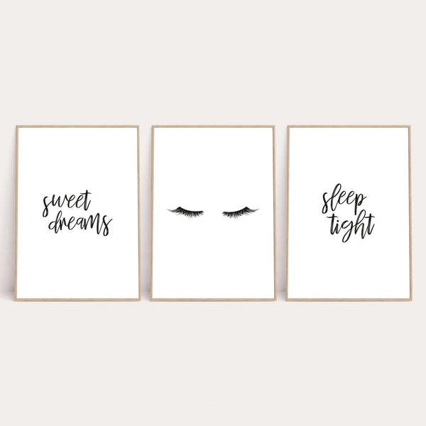 Sweet Dreams Sleep Tight Children's Wall Decor Set Of 3 Prints