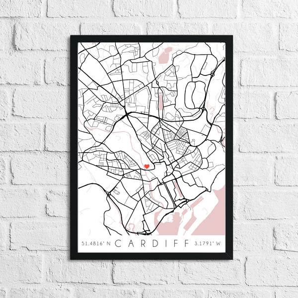 Couple Personalised Valentines Love Engagement Wedding Any Place City Print Coordinates Wall Decor Print
