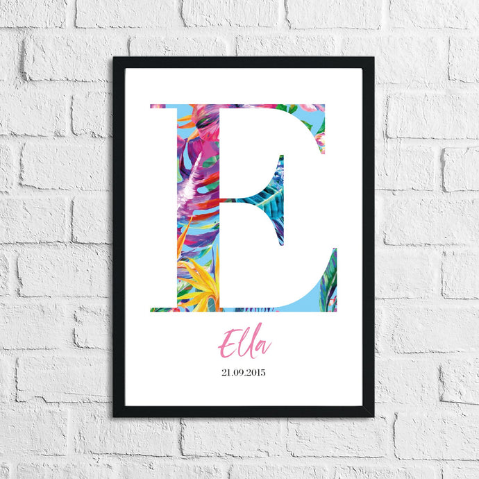 Watercolour Floral Name Initial DOB Children's Wall Decor Print