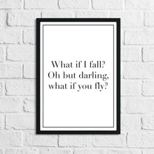 What If I Fall? Children's Room Quote Wall Decor Print (Font/Border Colour Editable)