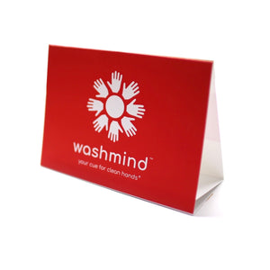front of washmind informational tentcard