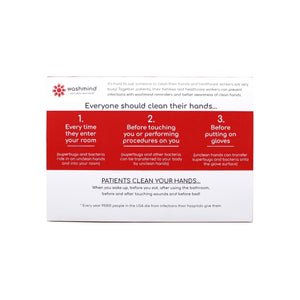 back of washmind informational tentcard with tips and reminders for patient and family