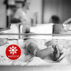 washmind decal on end of clear baby hospital bed with newborn inside