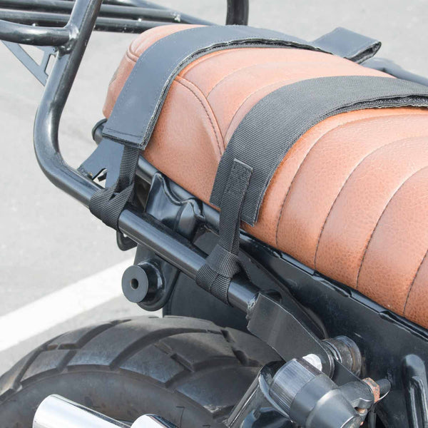 VUZ Moto waterproof motorcycle saddlebags scrambler straps