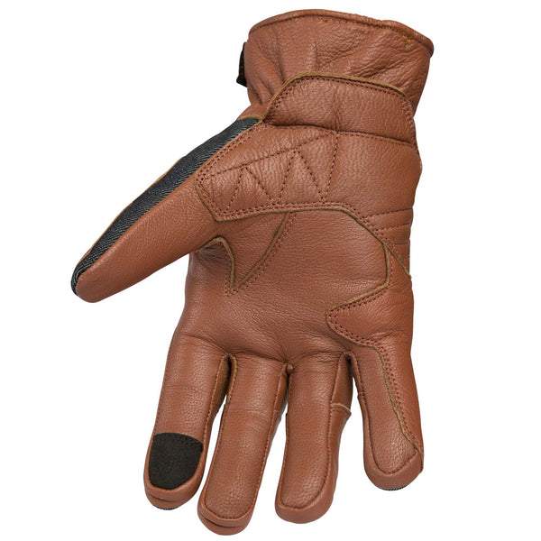 Bottom view of leather moto gloves