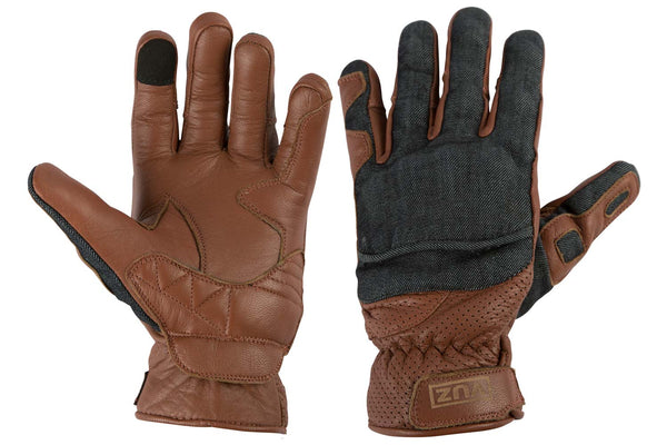 Back and front view of moto gloves