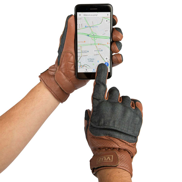 Leather moto gloves showcasing the etip feature