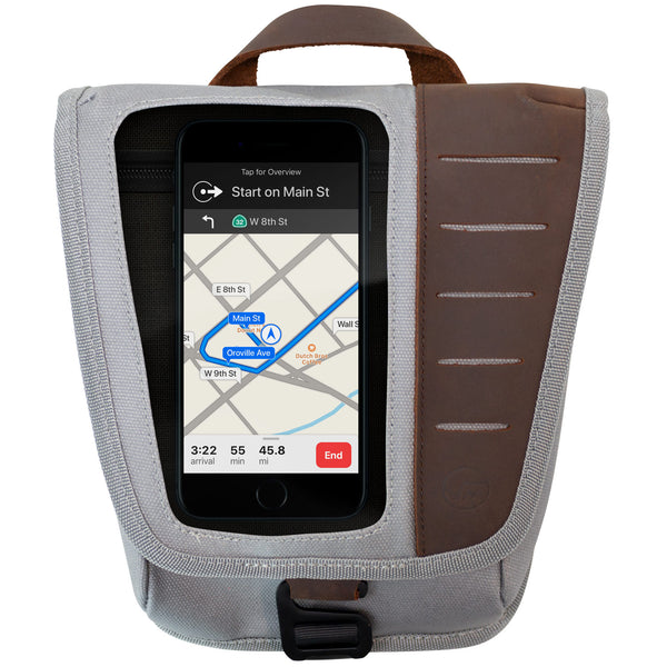 Mini Fuel Tank Luggage Bag Facing Forward With Cell Phone In Front Pocket
