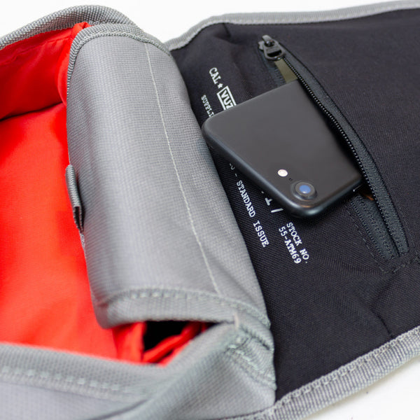 Mini Fuel Tank Luggage Bag Close Up Showing Cell Phone Pocket