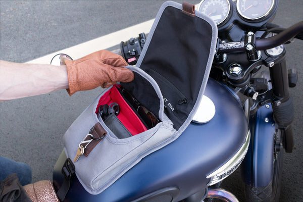 Mini Fuel Tank Luggage Bag Facing Forward On Motorcycle With Top Flap Open