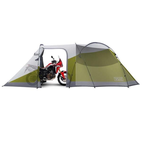Side view of moto tent with door open and motorcycle inside