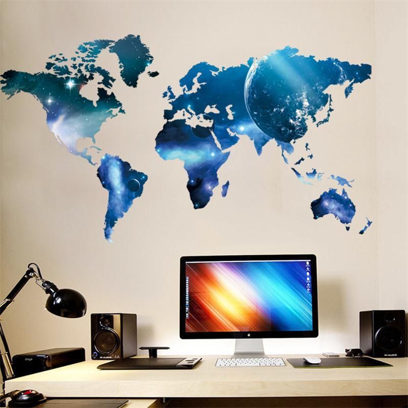 D World Map Outer Space Star Sky Home Office Decal Wall Art - 3d world map wall art