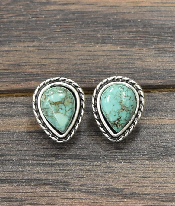 Audrey Natural Turquoise Drop Post Earrings