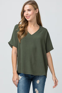 Melanie Asymmetrical V-Neck Top-Olive