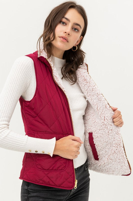 Remi Quilted Reversible Vest-WINE