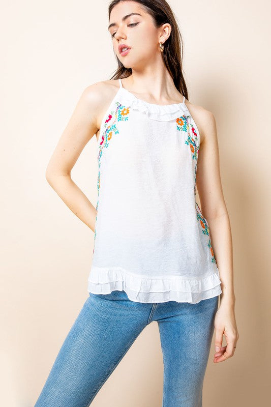 Tenley Embroidered Halter Top