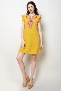 Kandy Embroidered Flutter Sleeve Dress