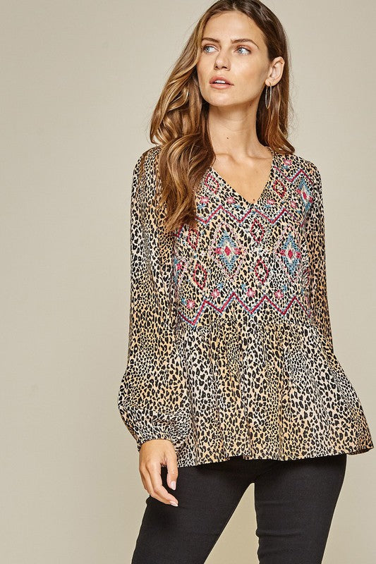 Irene Leopard Embroidered Top