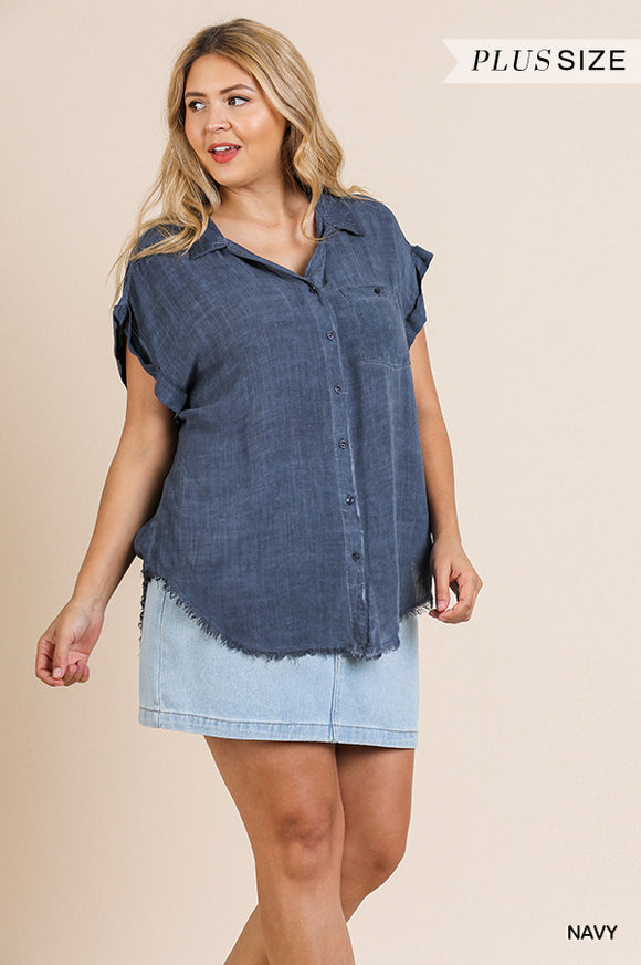 Lydia  Button Up Short Sleeve Top-Navy