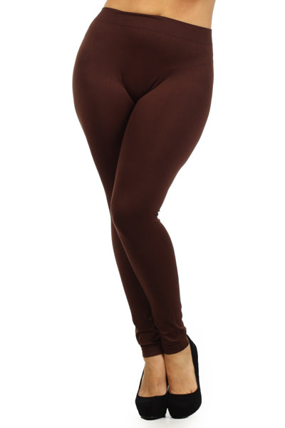 Plus Leggings-Brown