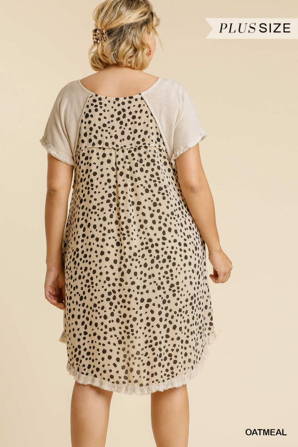 Ash Linen Blend Dalmatian Print Dress-Oatmeal