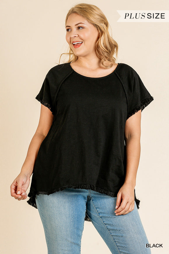 Lyndy Knit  Top -Curvy-Black