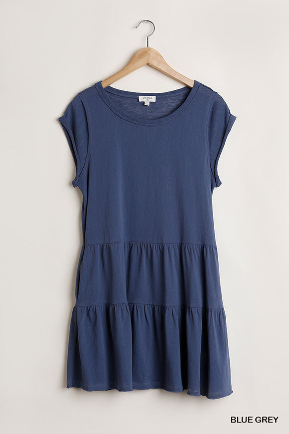 Tiana Tiered Dress With Raw Hem-Blue