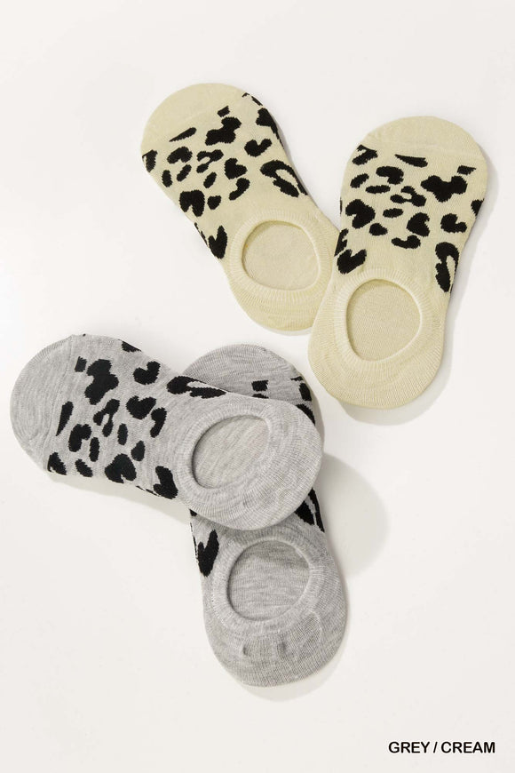 Amee Leopard Print Invisible Socks