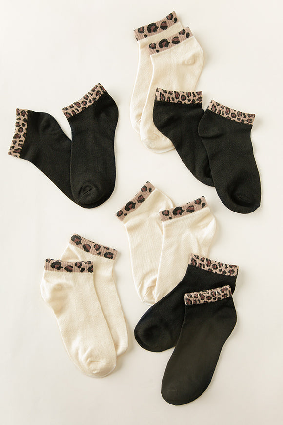 Paisley Leopard Trimmed Ankle Socks