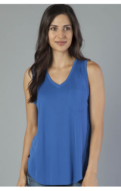 Esther Pocket Tank-Royal Blue