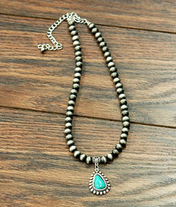 Bianca Natural Turquoise Pendant Necklace