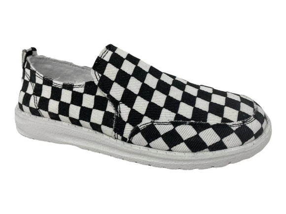 Gypsy Jazz Checker Slip On Shoes