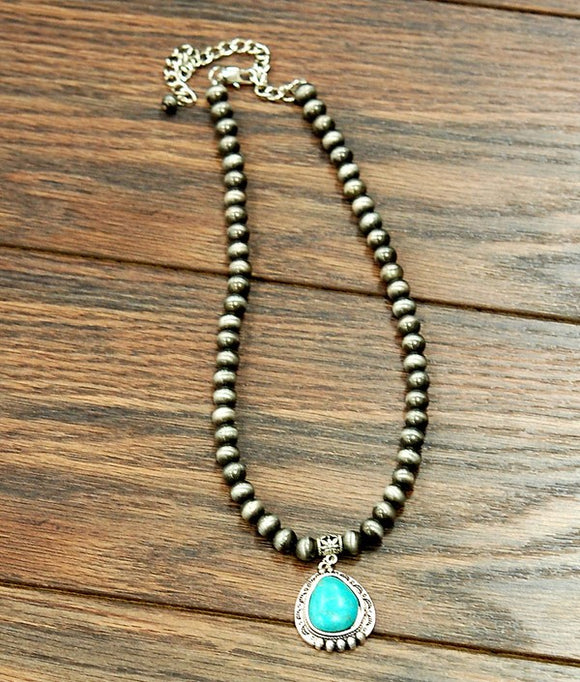 Lila Navajo Pearl Necklace with  Turq. Pendant