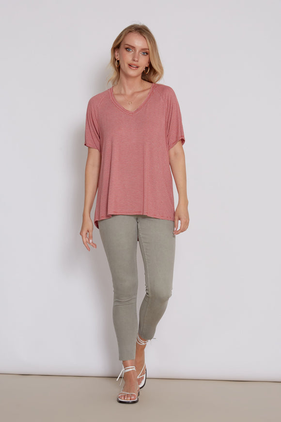 Taylor Striped Top- Wild Rose