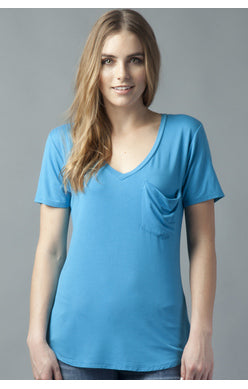 Phoenix Pocket V Neck Tee - Dark Teal