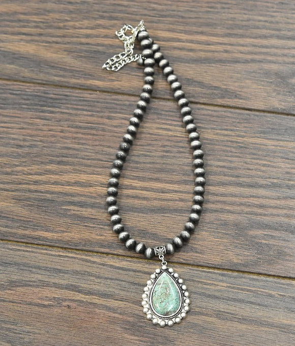 Evan Navajo Pearl Necklace, Natural Turquoise Pendant