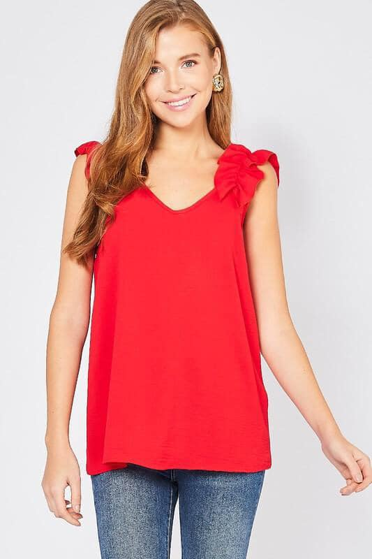 Remi Ruffle Top - Red