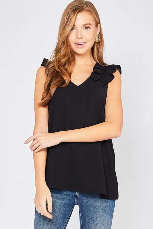 Remi Ruffle Top - Black