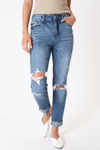 Gemma High Rise Distressed Mom Jeans