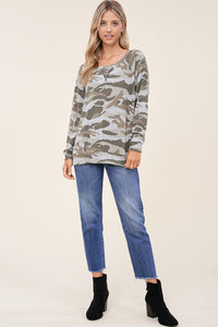 Dawn Camo Raglan Top