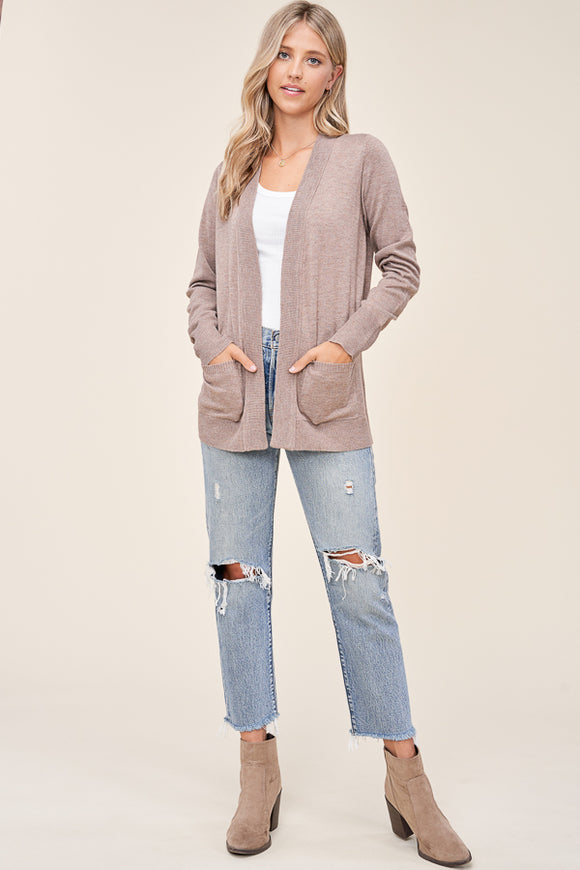 Trey Basic Cardigan-Mocha