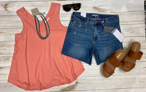 Allison V-neck Tank Top-Coral