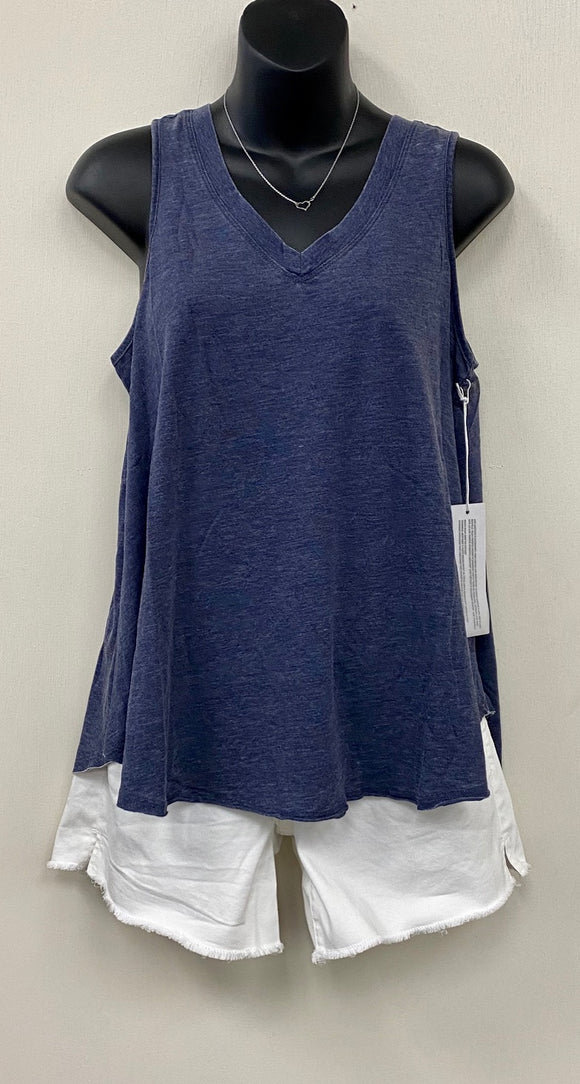 Allison V-neck Tank Top-Navy