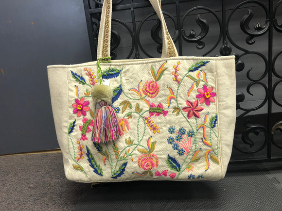 Grace Cream Embroidered Tote