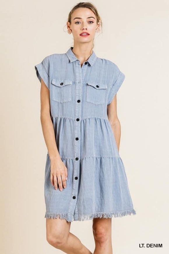 Penny Denim Ruffle Dress