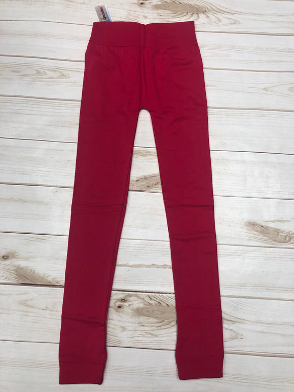 Kids Fleece Leggings-Hot Pink
