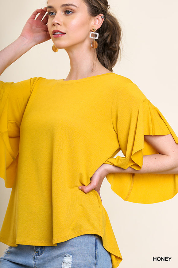Amy Ruffle Sleeve Round Neck Top-Honey