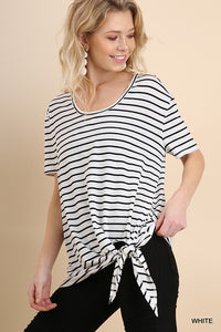 Karin White Striped Top With Waist Tie