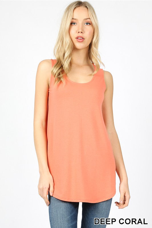 Sandy Relaxed Fit Tank-Coral