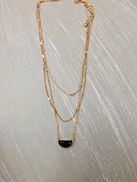 Bonnie 3 Strand Gold and Black Necklace